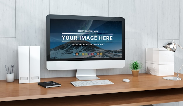 Modern office desktop with computer mockup