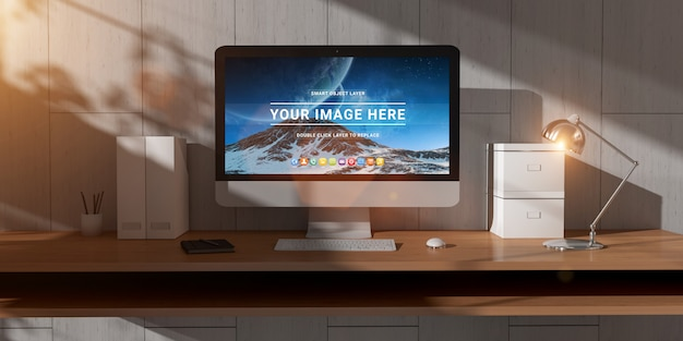 Modern office desktop with computer and sunlight mockup