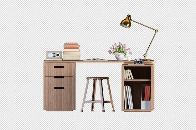 Современная офисная мебель в классе 3d-рендеринга