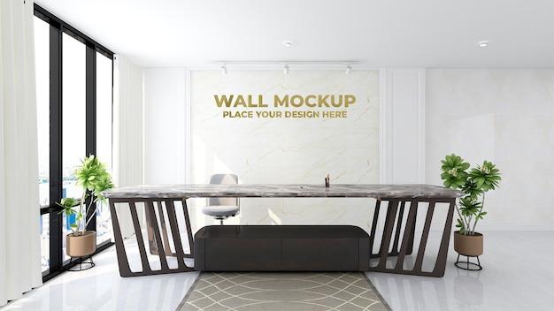 현대 사무실 로비 대기실 벽 로고 모형