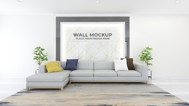 Modern office lobby waiting room wall logo mockup