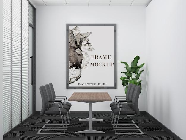 Modern office meeting room large wall frame mockup