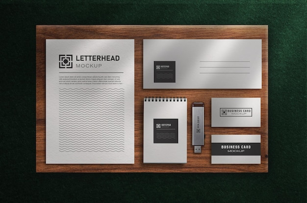Modern office stationery mockup set with top view
