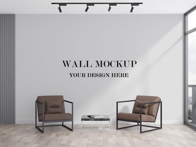 Современный офис, зона ожидания, пустая стена, 3d-рендеринг, макет