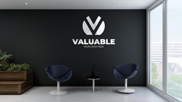 Современный офисный зал ожидания черная стена с логотипом