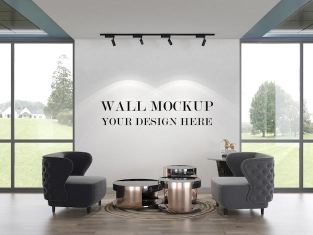 Modern office waiting room empty wall 3d rendering mockup