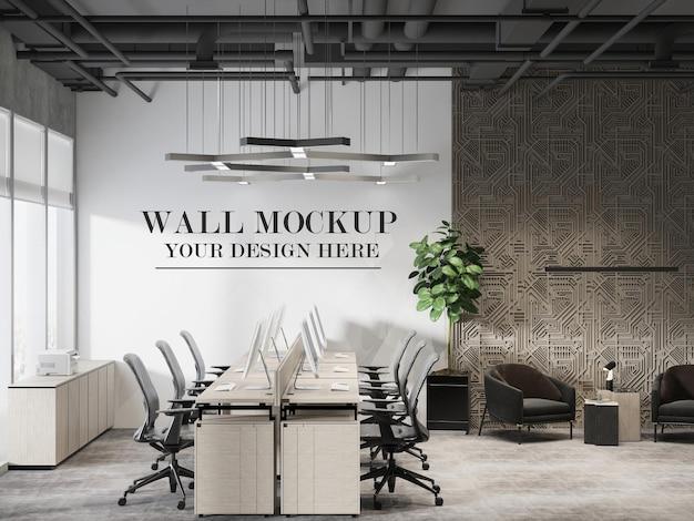 モダンなオープンプランのオフィスの壁のモックアップ