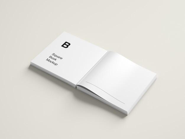 Modern opened square book mockup