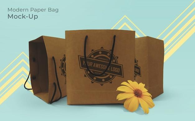 Modern paper bag mock-up