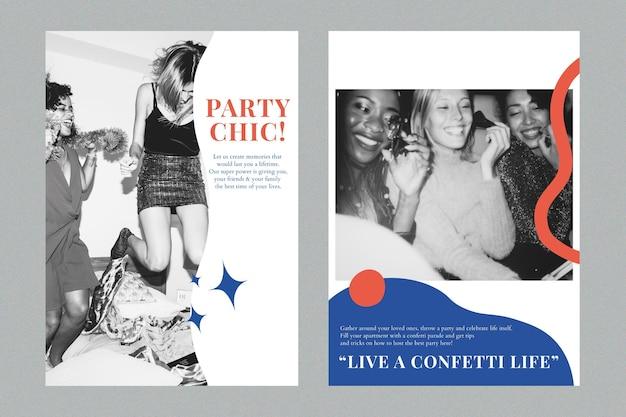 主催者デュアルセットのための現代のパーティーマーケティングテンプレートpsd広告ポスター