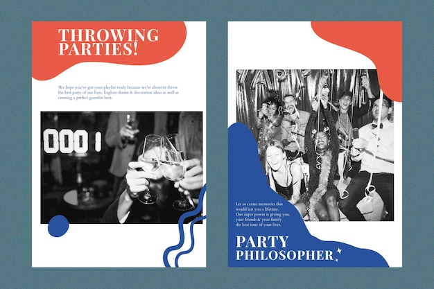 Poster pubblicitario psd modello di marketing per feste moderno per doppio set di organizzatori