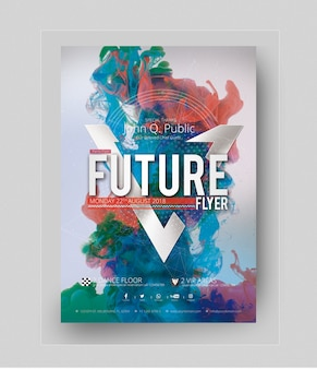 Modern party poster mockup with colors