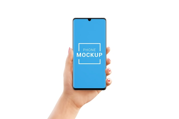Modern phone mockup in woman hand isolated