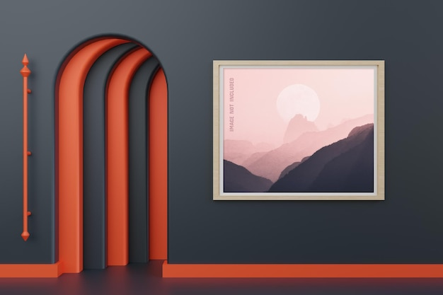 Modern  photo frame mockup isolated on wall