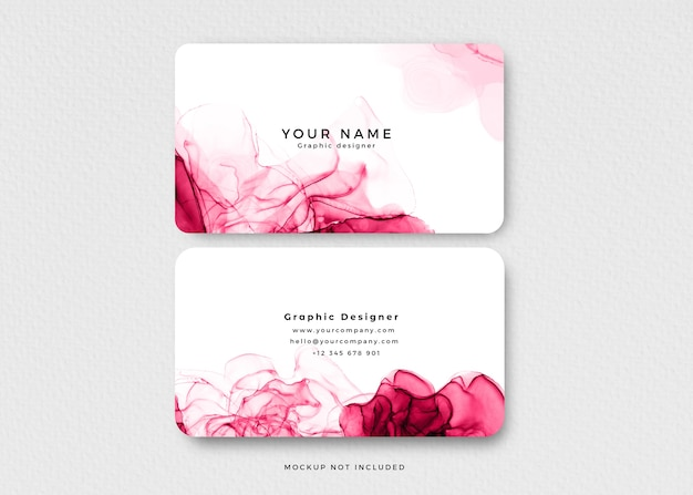 Modern pink alcohol ink business card