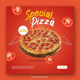 Шаблон поста в instagram с современной пиццей