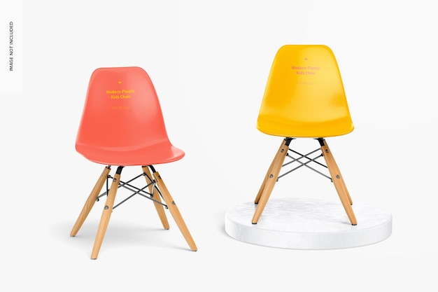 現代のプラスチック製の子供用椅子のモックアップ、正面図