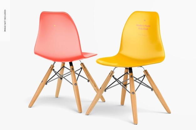現代のプラスチック製の子供用椅子のモックアップ