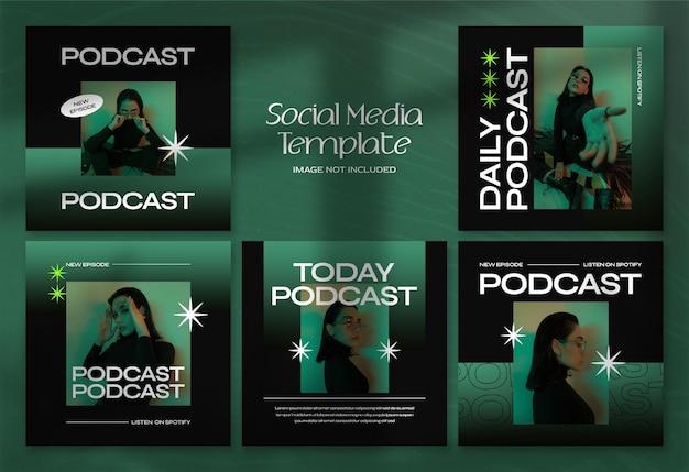 Современный подкаст, баннер в социальных сетях и шаблон сообщения в instagram