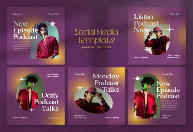 현대 팟캐스트 소셜 미디어 배너 및 인스타그램 포스트 템플릿
