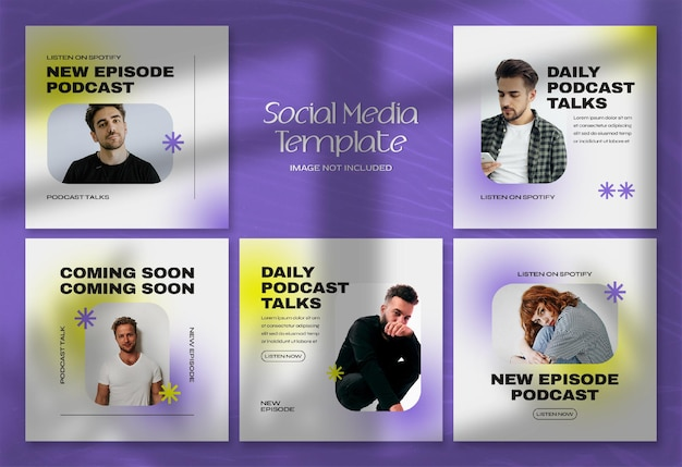 Modern podcast social media banner and instagram post template