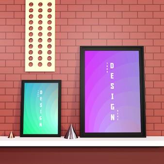 Современный макет плаката и фоторамки на кирпичной стене