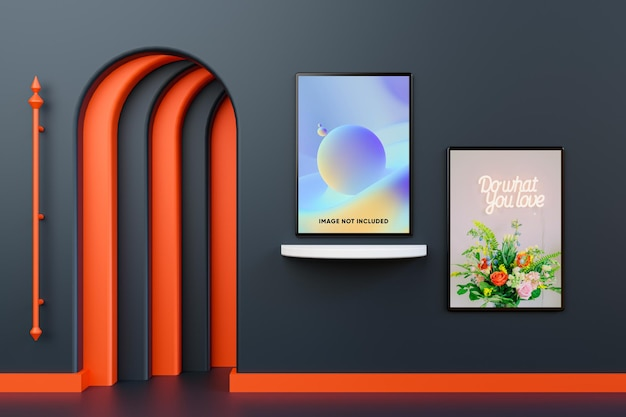 Modern poster mockup isolated on wall