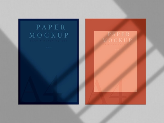 브랜딩, 기업 정체성, 그림자 오버레이가있는 그래픽 디자이너 프레젠테이션을위한 최신 인쇄 목업 디자인