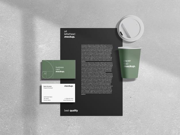 현대 전문 기업 비즈니스 정체성 편지지 모형 세트