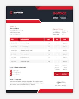 モダンなプロの企業の赤い請求書テンプレートデザイン