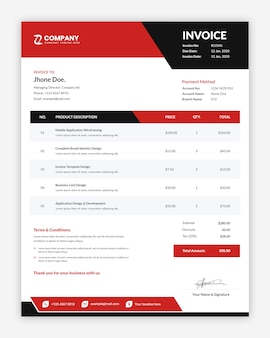 Modern professional creative red business invoice template
