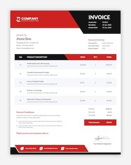 モダンなプロの創造的な赤いビジネス請求書テンプレート