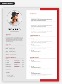 Modern professional curriculum vitae template design