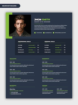 Modern professional dark cv resume template