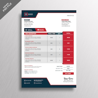 Modern professional style design invoice template