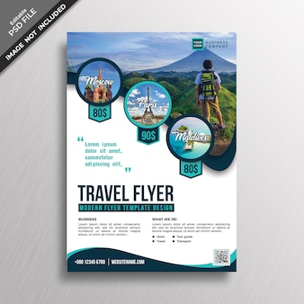 Modern professional travel style flyer design template