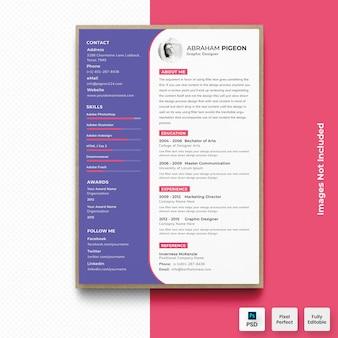 Современный фиолетовый резюме cv шаблон