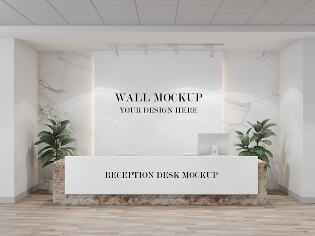 Modern reception desk and wall mockup