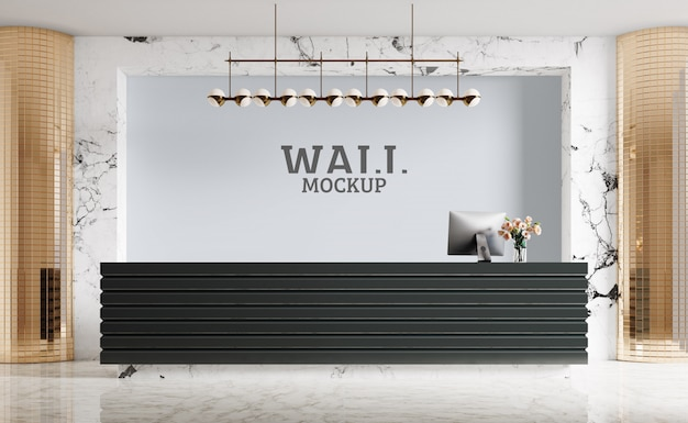 Modern reception, luxury.wall mockup