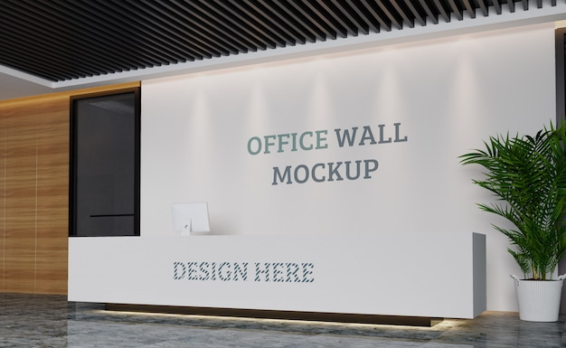 Modern reception space with wall mockup