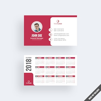 Modern red business card mockup with calendar