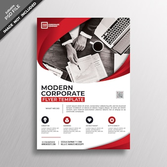 Modern red corporate style flyer template design