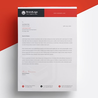 Modern red letterhead template