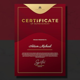 Modern red maroon gold certificate of achievement template