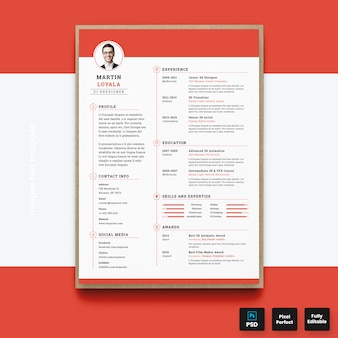 Modern red resume cv template