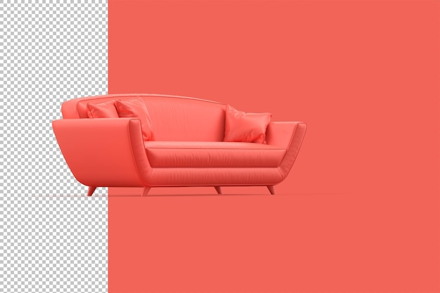 Современный красный диван на красном фоне. 3d-рендеринг