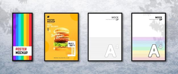 Макет плаката современного ресторана на стене