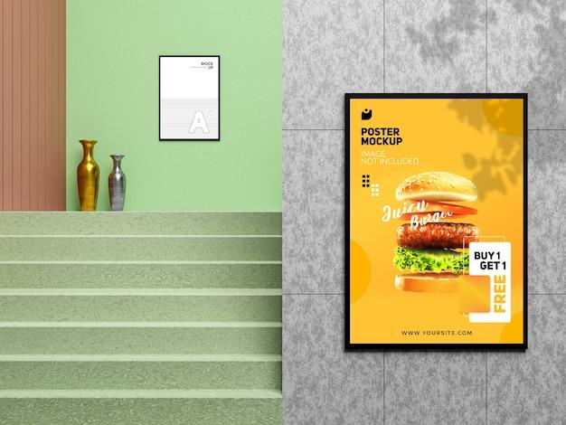 Modern restaurant poster mockup on wall