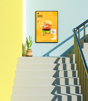 Modern restaurant poster mockup on wall