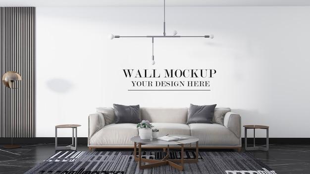 Modern room wall mockup in 3d rendering